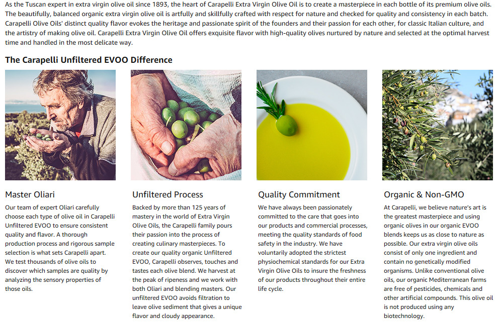 Carapelli Unfiltered Organic Extra Virgin Olive Oil First Cold-Pressed EVOO