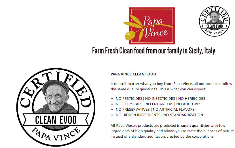 Papa Vince Olive Oil - Extra Virgin First Cold Pressed Family Harvest in Sicily Italy